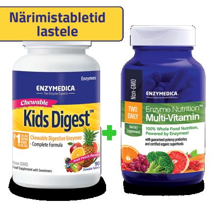 Kids Digest + Enzyme Nutrition Multi-Vitamin komplekt (90 närimistabletti + 60 kapslit)