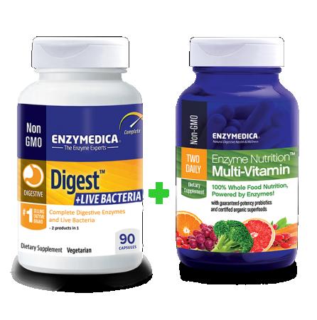 Digest Live Bacteria + Enzyme Nutrition Multi-Vitamin komplekt (90 kapslit + 60 kapslit)